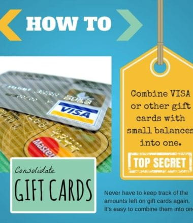 Consolidate Gift Cards - Combine gift cards into one! Combine and consolidate old low balance gift cards into one so you can use them all at once. Quick & easy!