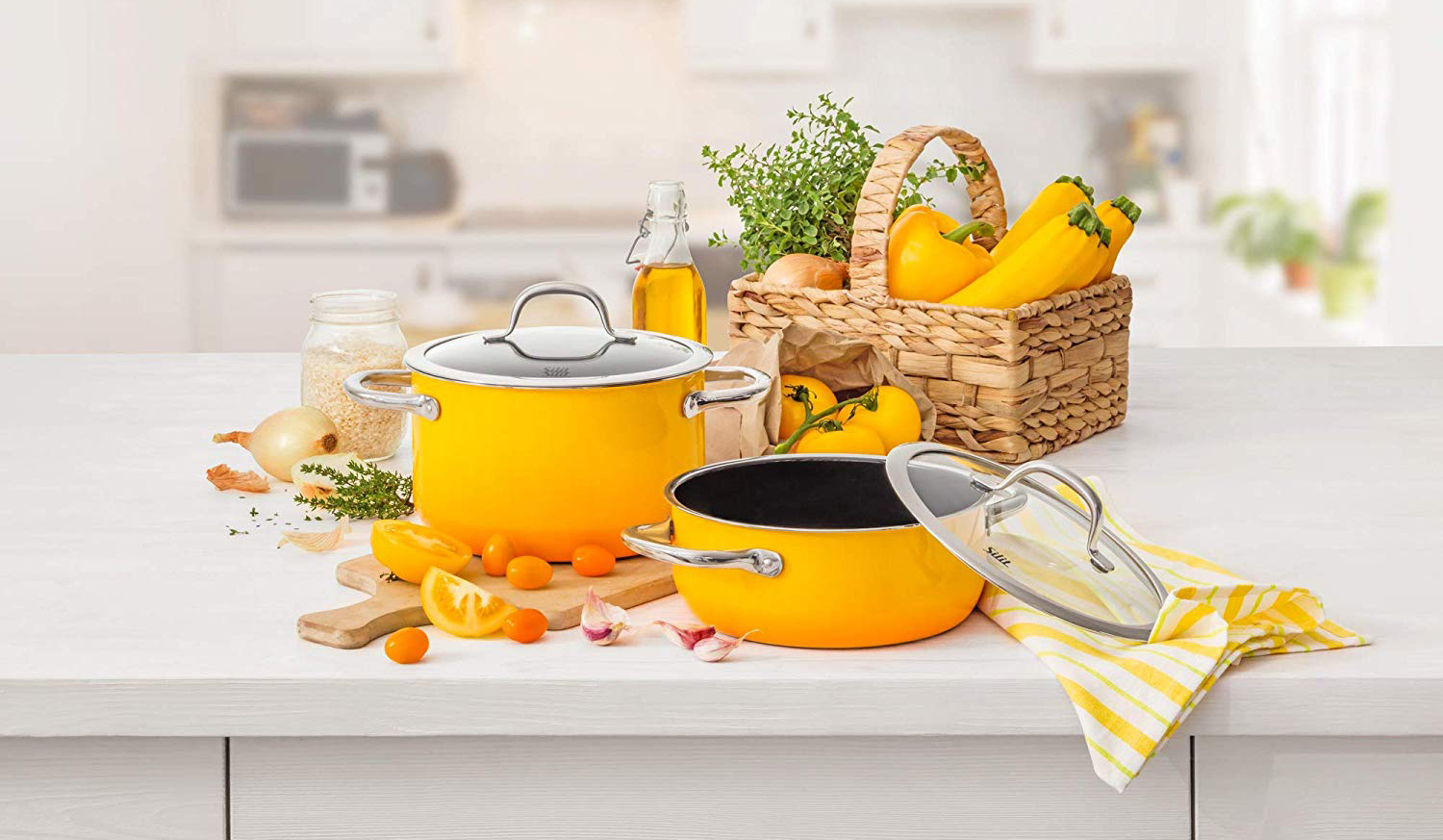 Yellow Silit Silargan Cookware set made in Germany