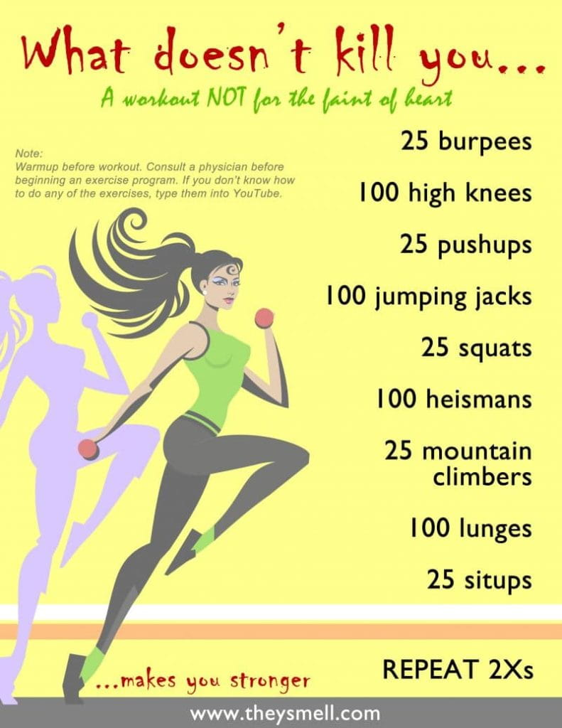 full body workout routine printable on a yellow background