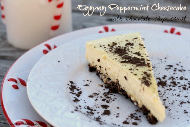 peppermint Eggnog Cheesecake on a white plate