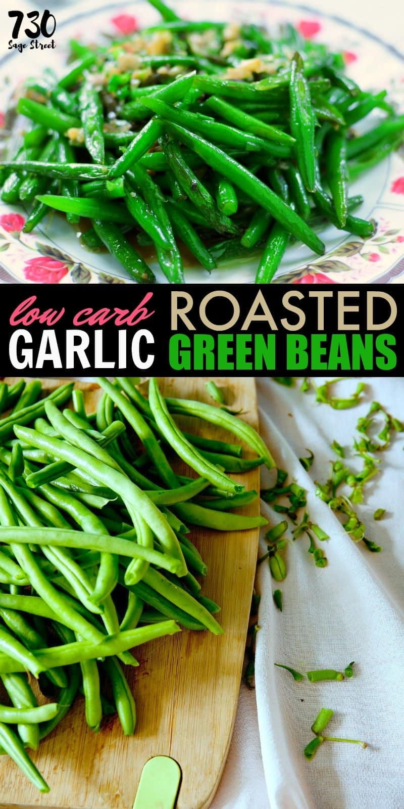 low carb garlic green beans photo collage