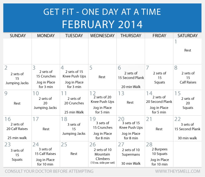 Get Fit in 2014 - Daily Beginner Workout Plan for February (with intermediate & advanced options)