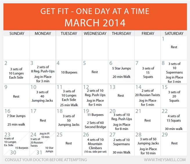 Daily Beginner Workout Plan for March