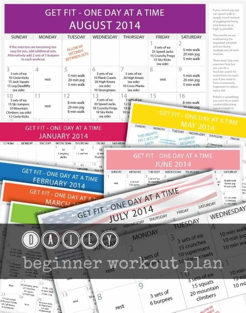 Daily beginner workout fitness plan - daily calendar with a workout for each day of each month with rest days.