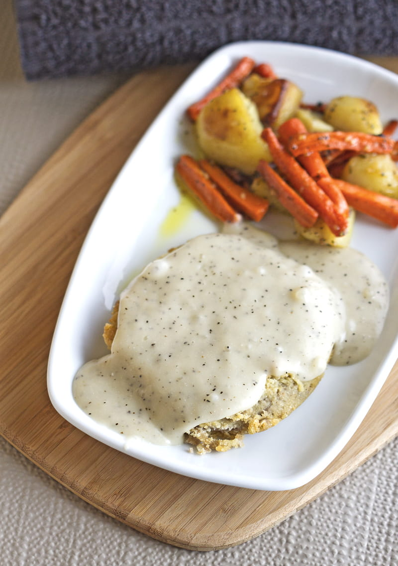 "Paleo ""Breaded"" Pork Patty with Country Gravy & Roasted Veggies"