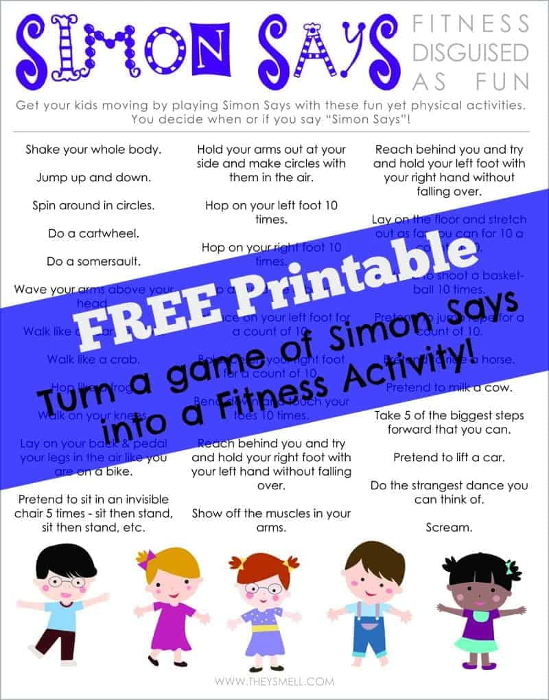 Simon Says Workout for Kids Printable