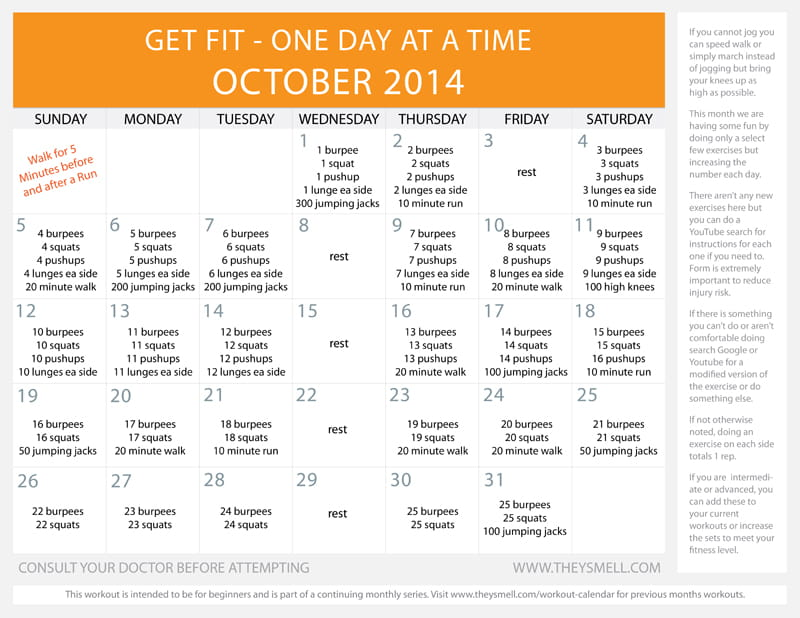 Free Printable Daily Beginner Workout Calendar