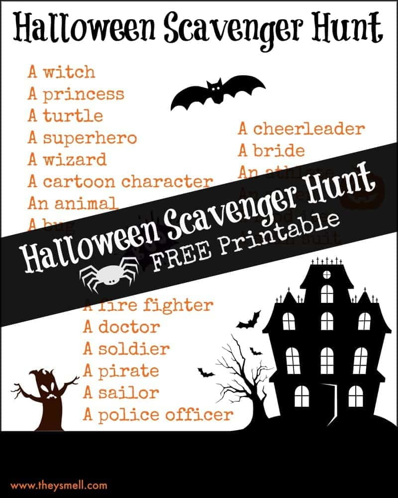 Halloween Scavenger Hunt Free Printable. Hunt for as many of the listed costume types as possible for not-so-spooky fun this Halloween.