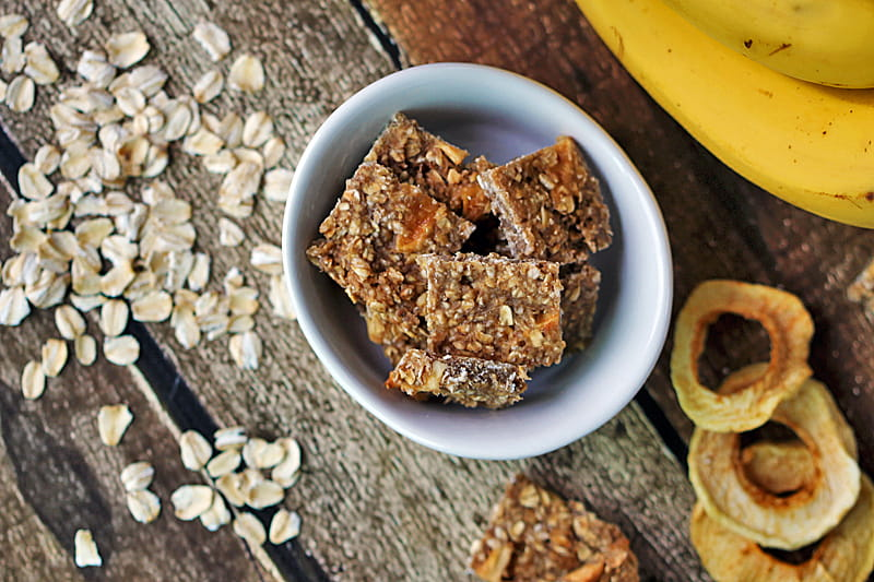 Banana Apple Oatmeal Quick Bites - easy to make, bite sized granola snacks with dried apples and bananas.