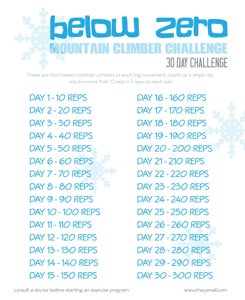 Below Zero Mountain Climber Challenge -workout to help you fight the holiday bulge.