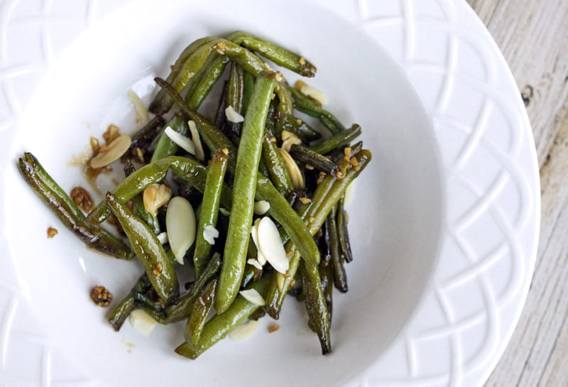 Sauteed Asian Green Beans with Garlic & Honey Sauce - add slivered almonds for a delicious Chinese restaurant style dish.