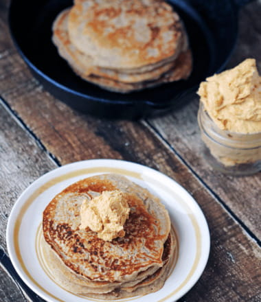 Protein Powered Gluten-free Maple Vanilla Pancakes with Whipped Pumpkin Butter