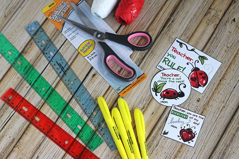 Dollar Tree Valentine's Day Ideas for Teachers - FREE Printables will help you create adorable teacher school supplies Valentine's Cards.
