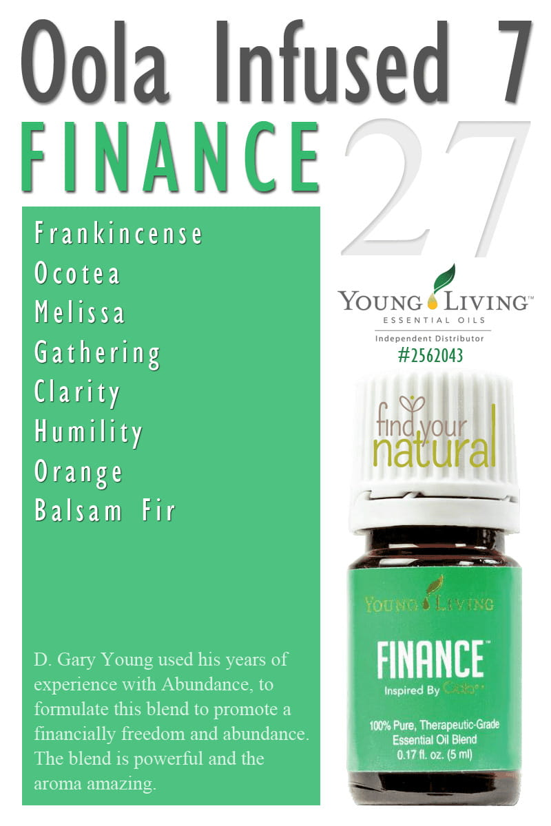 Oola Infused 7 Kit Finance Essential Oil from Young Living. This blend promotes financial freedom and abundance. The blend is powerful & the aroma amazing.