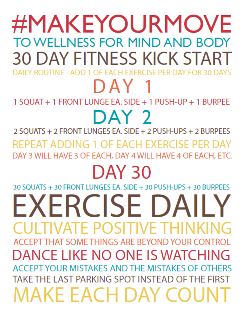 30 Day Fitness Kick Start - #MakeYourMove to Wellness for mind and body with this free printable that helps you move slowly into a fitness plan.