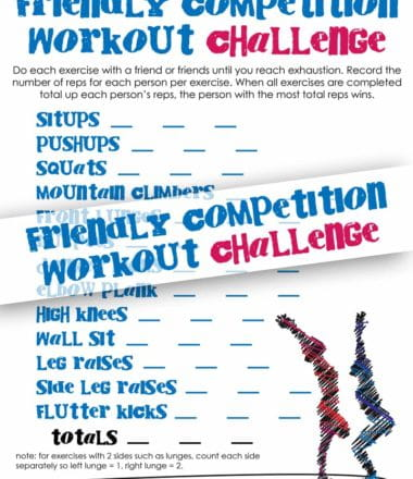 Friendly competition workout challenge! #MakeYourMove to a healthier lifestyle by getting active with your friends. Free fitness printable!