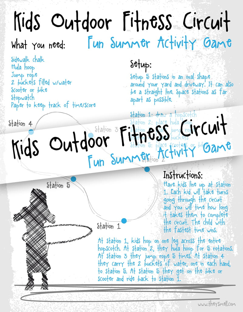 Kids outdoor fitness circuit FREE printable - this fun summer activity game will get them moving by making fitness fun!