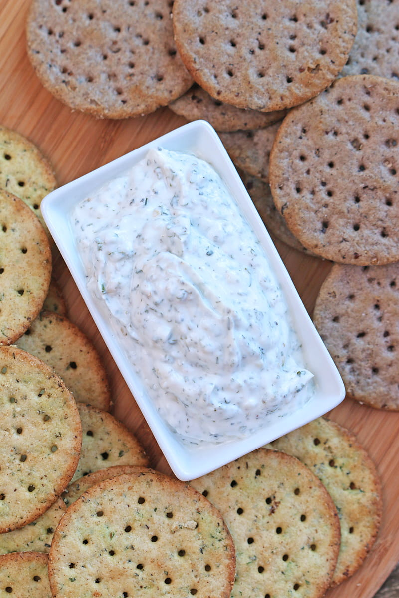 Easy Homemade Ranch Dip with Breton Gluten-Free Crackers