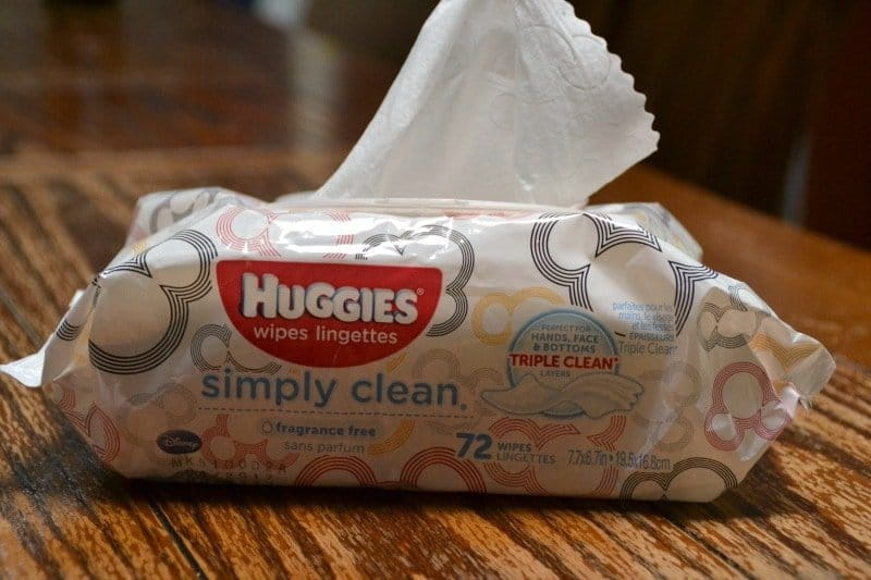 Huggies wipes for cleaning up after making homemade Gak