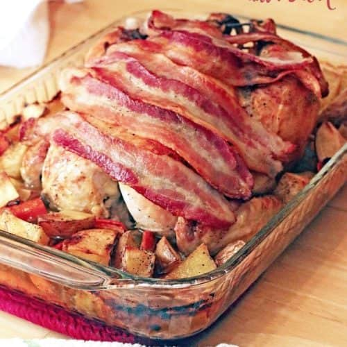 Garlic Lime Whole Roasted Chicken with Bacon
