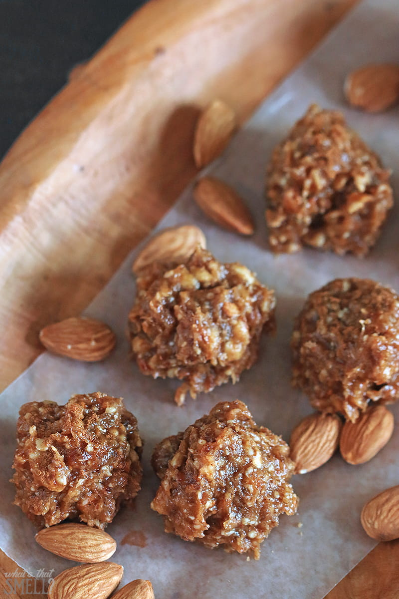 Maple Cinnamon Sticky Almond Snack Bites