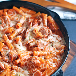 cheesy pasta in skillet