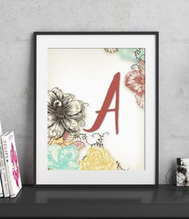 Add some flair to your space with this FREE spring inspired floral monogram printable / frameable.
