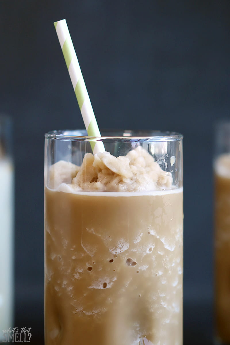 Easy Salted Caramel Iced or Frozen Coffee Recipe - Just 3 ingredients make a delicious, coffee-shop worthy iced or frozen salted caramel flavored coffee! It's dairy free too!