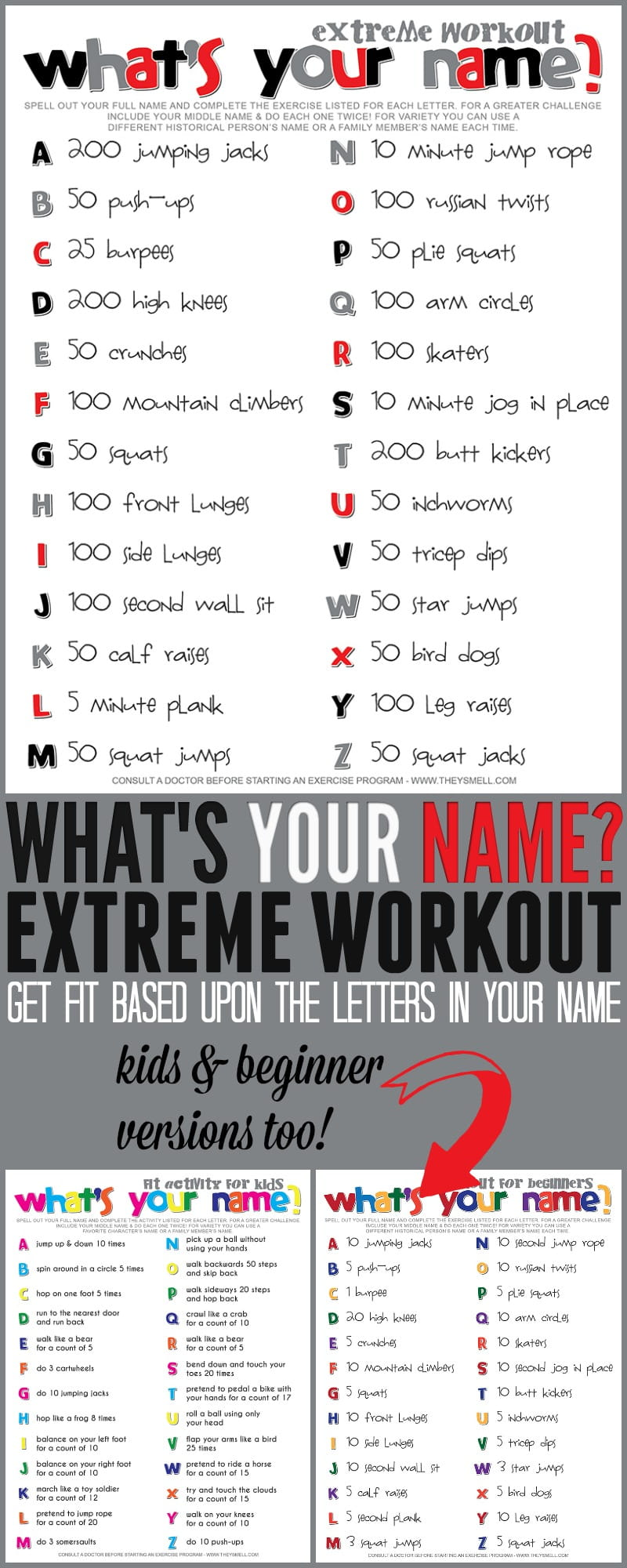 full name workout free printable