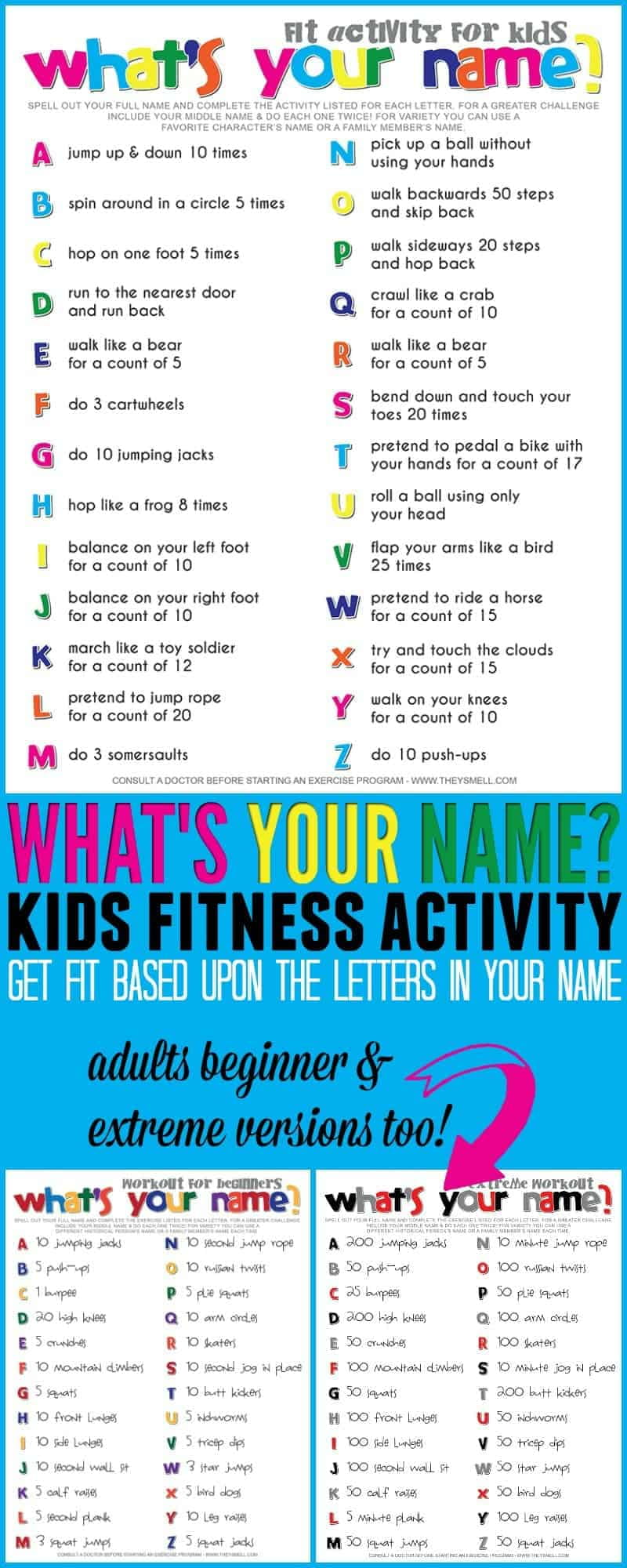 spell your name workout collage of printable graphics