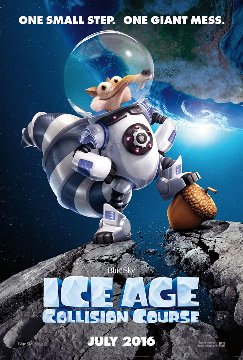 Ice Age: Collision Course coming to theaters July 22nd has Scrat and your favorite characters up to new hijinks with lots of fun and colorful new characters.