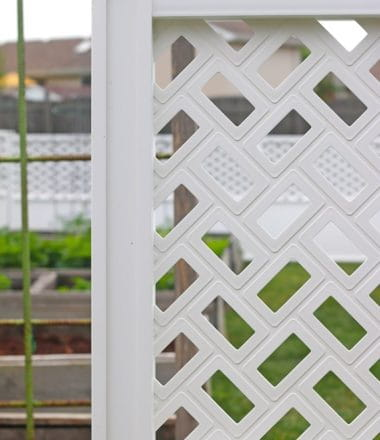 Transform Your Backyard Easily with Decorative Connections Fencing - function meets beauty with Freedom Connections Fencing System available exclusively at Lowe's. Flexible, great looking, easy to install and requires no hardware, no digging holes and no glue. Low maintenance and customizable, Connections Vinyl Fencing is perfect for any DIYer looking to enclose an area for privacy or decoration.