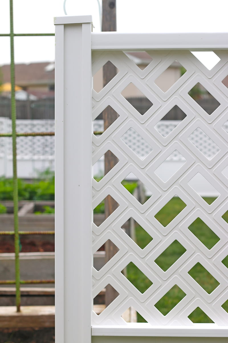 Transform Your Backyard Easily with Decorative Connections Fencing - function meets beauty with Freedom Connections Fencing System available exclusively at Lowe's. Flexible, great looking, easy to install, easy to install and requires no hardware, no digging holes and no glue. Low maintenance and customizable, Connections Vinyl Fencing is perfect for any DIYer looking to enclose an area for privacy or decoration.