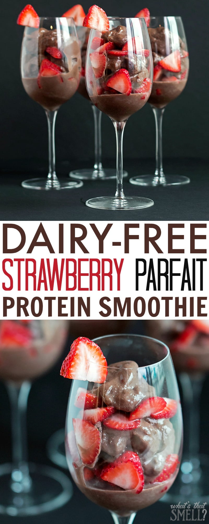 Dairy-Free Strawberry Parfait Protein Smoothie - get the clean protein your body needs to fuel you through your day! Healthy, gluten-free, soy-free, dairy-free and delicious.