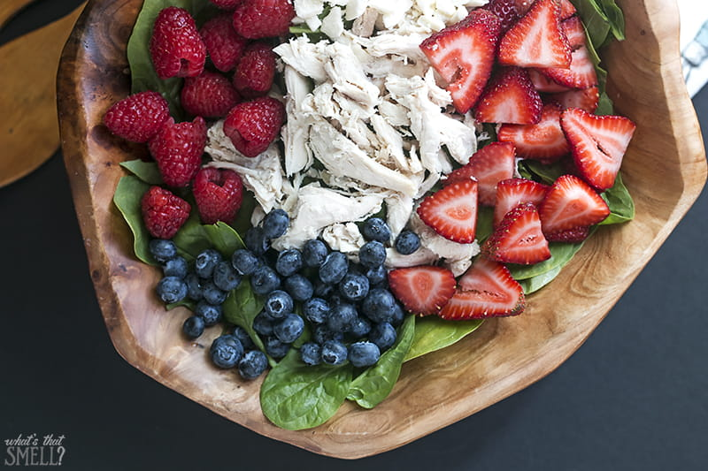 Triple Berry Chicken Salad with Spinach & Feta Cheese - enjoy this delicious fresh and fruity salad all summer long. It's refreshing and perfect for summer gatherings. Filling enough for a meal too!