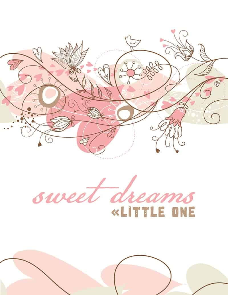 Sweet Dreams FREE Nursery Wall Art Printable - DIY wall art for a girl's nursery that costs next to nothing to create!