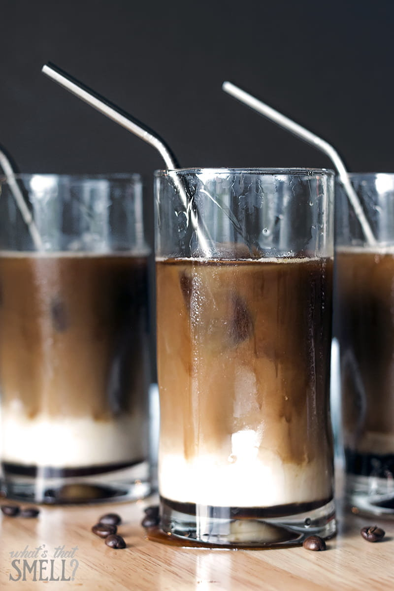 Maple Vanilla Iced Almond Coffee - make your own fancy, delicious coffee shop style drink at home easily. Dairy-free and only 3 ingredients.
