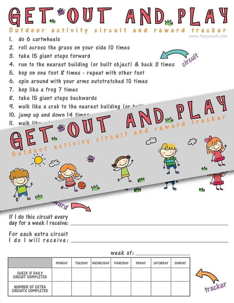 Get Out and Play Activity Circuit and Reward Tracker - encourage your kids to spend more time outside with this fun circuit. You can establish rewards and track their activity too! A great way to motivate kids to get some exercise and fresh air and earn their screen time through fitness.