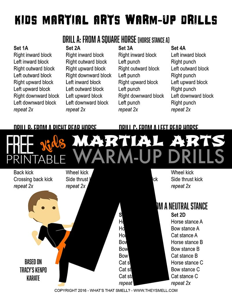 Martial arts warm-up drills for kids - Drills are a great way to make sure that you work the basics into the class so I put together a sheet of Kenpo karate drills that can be modified as necessary for any style of martial arts.