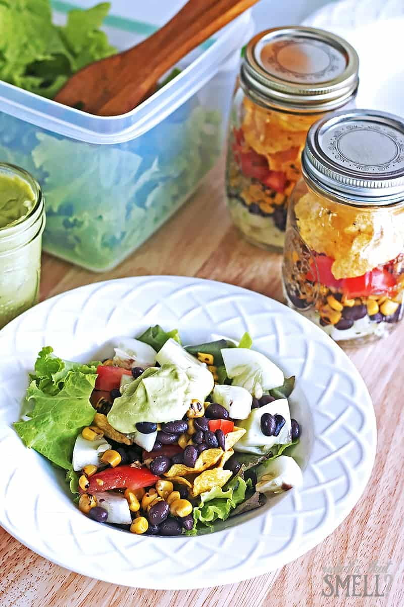 Summer Salad Hack - Southwest Mason Jar Salad with Creamy Avocado Dressing. Rubbermaid Freshworks and a couple of mason jars can help you have fresh salads available easily for those days when you just don't want to cook.