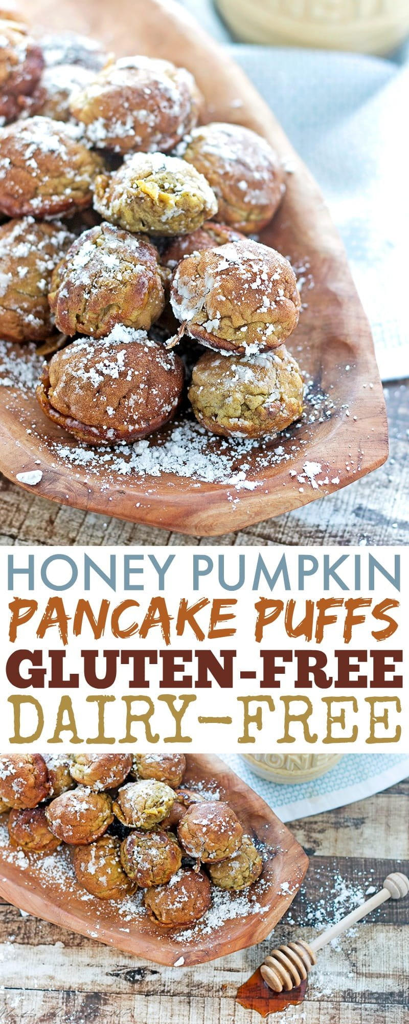 Honey Pumpkin Pancake Puffs: Gluten-free and dairy-free, these pumpkin Ebelskiver Danish pancake balls are a fun and delicious treat for breakfast or anytime.