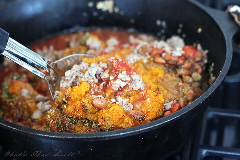 This thick pumpkin chili is deliciously spicy and sweet and perfect for fall with hearty ingredients and ideal for cool autumn evenings with family. It's dairy-free and gluten-free too.