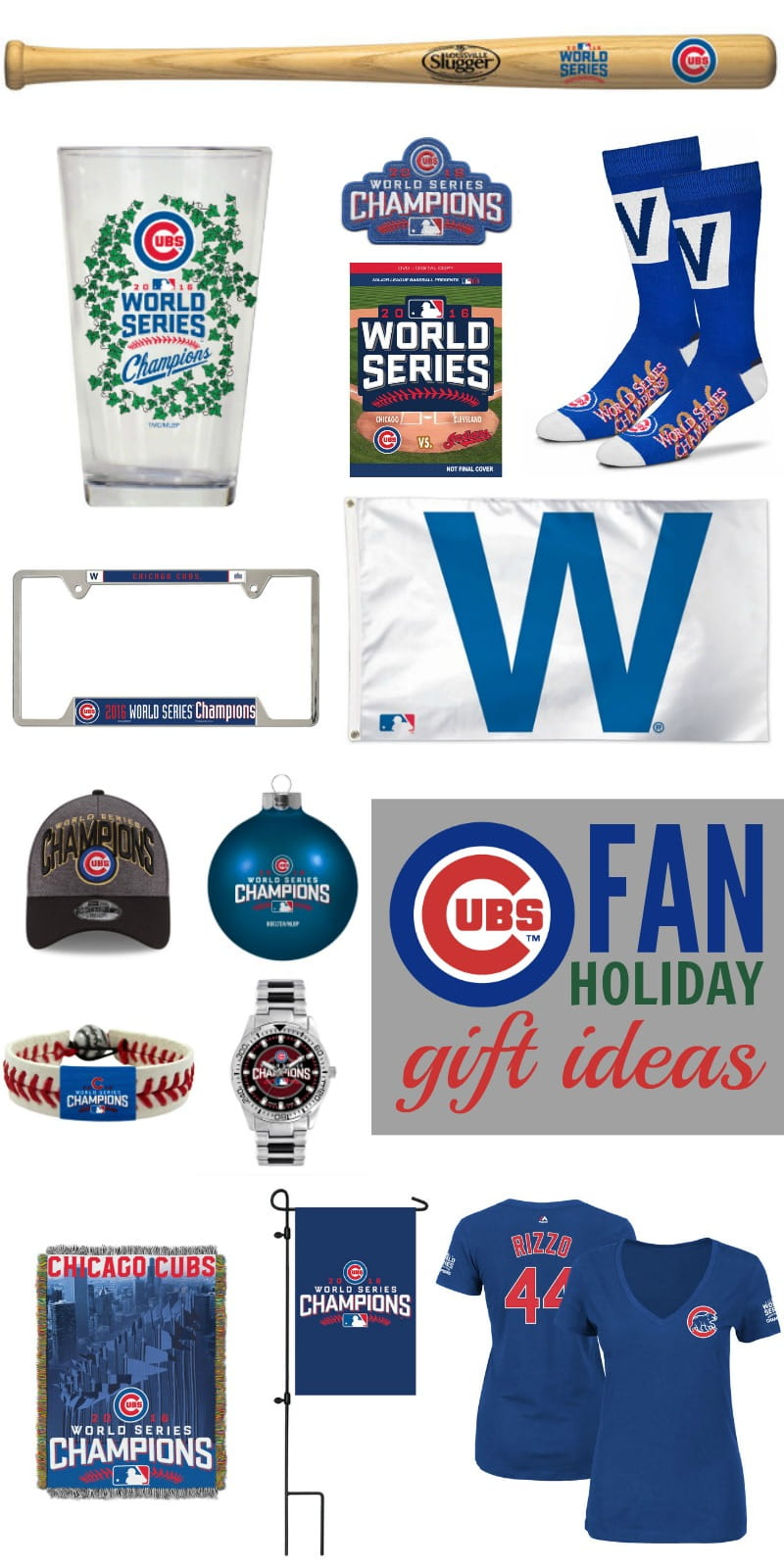 Cubs Fan Holiday Gift Ideas - The Chicago Cubs won the World Series! Help your favorite Cubs fan celebrate their beloved Cubbies with these gift ideas.