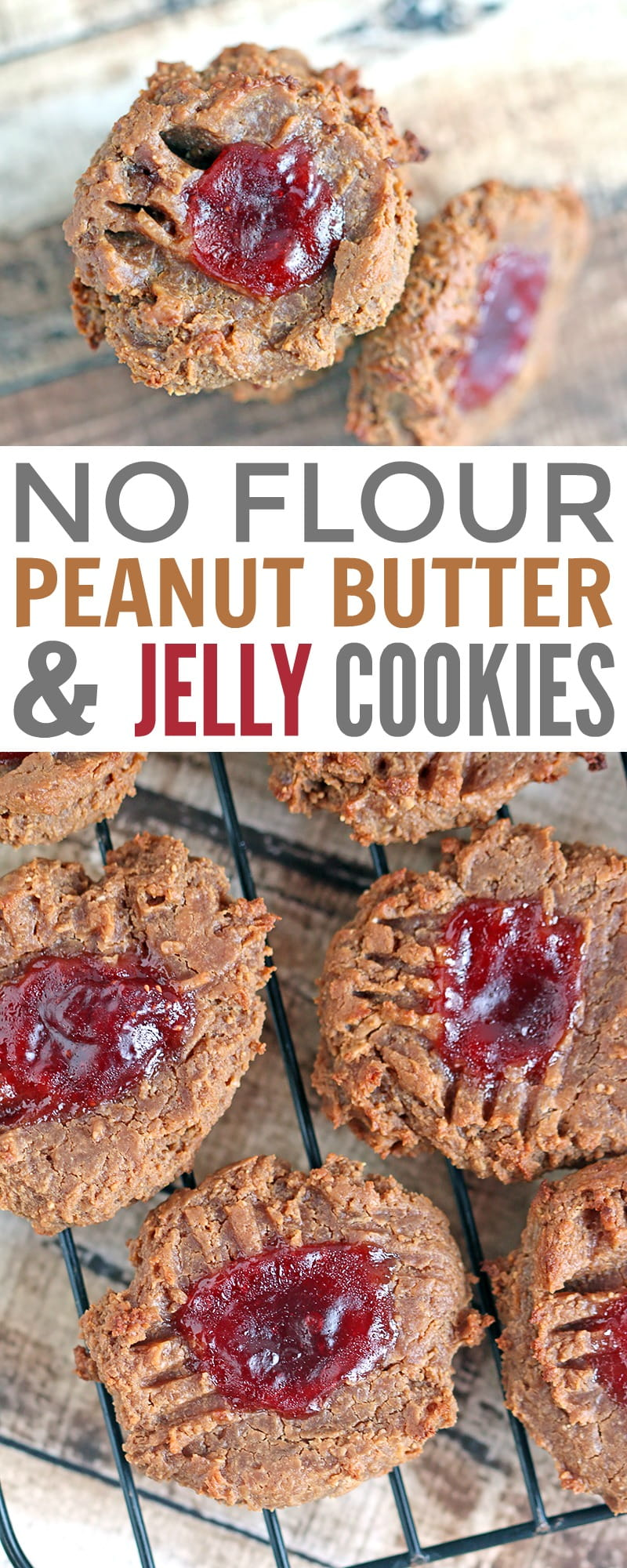 No Flour Peanut Butter & Jelly Cookies - These cookies contain no flour, are gluten-free, dairy-free and are sweetened with applesauce.