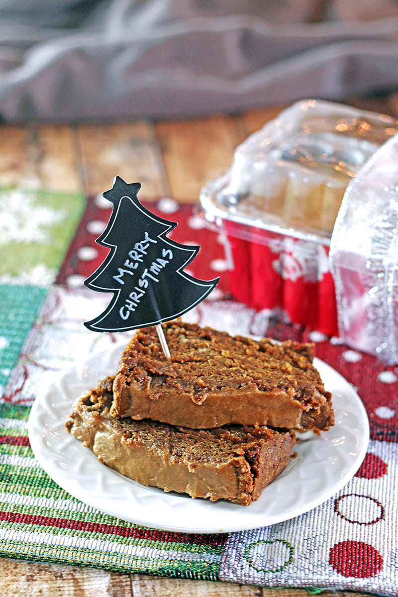 Pumpkin Gingerbread Loaf with Maple Peanut Butter Glaze. This gluten-free and vegan gingerbread loaf is dense and only slightly sweet but quite tasty.