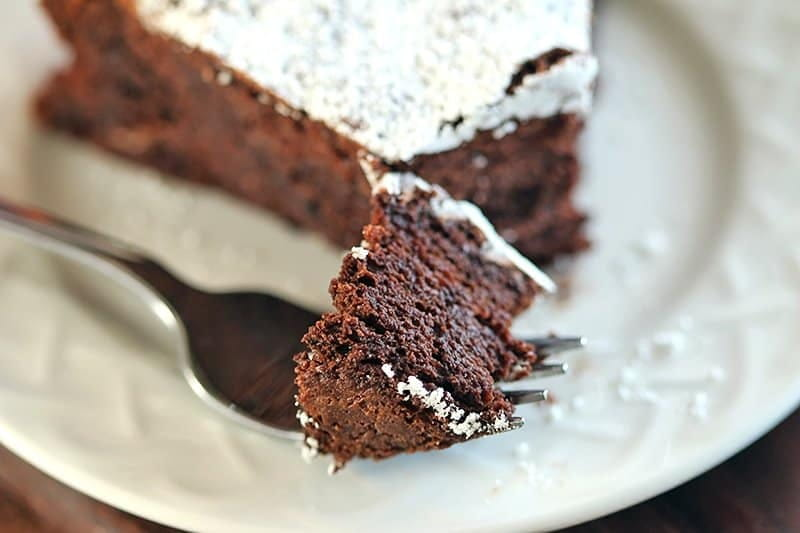 Flourless Chocolate Cake on a fork