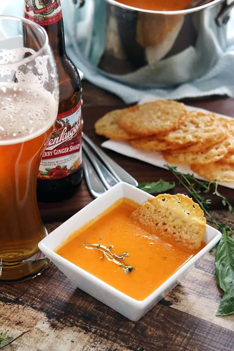 Low Carb Tomato Soup with Parmesan Crisps