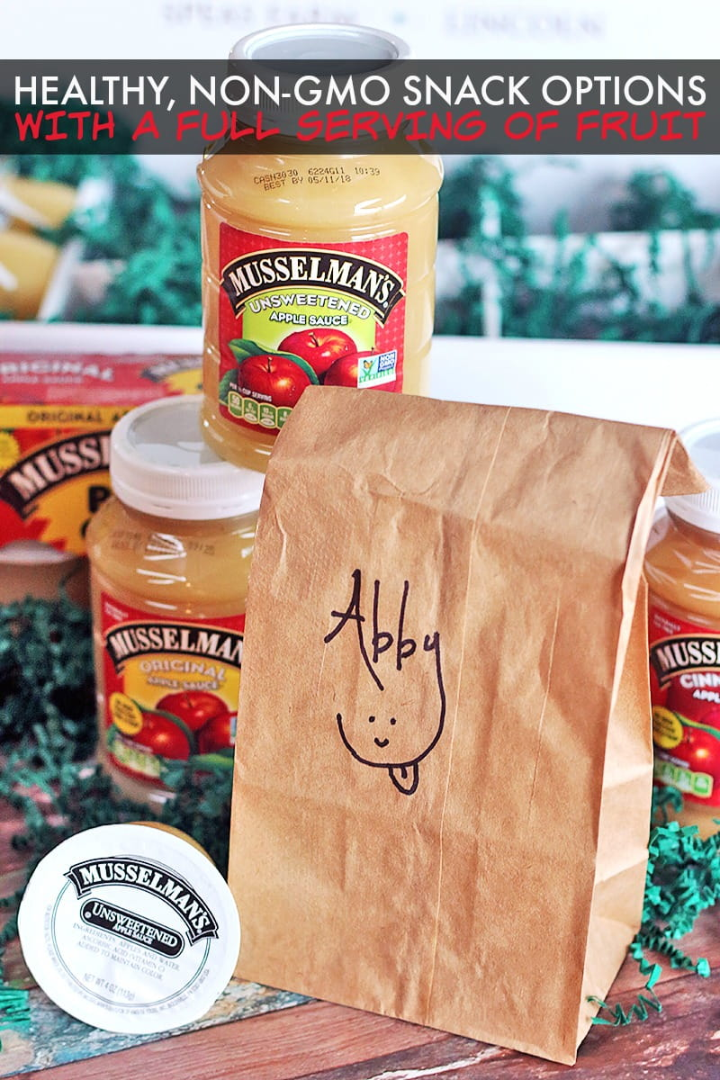 Healthy Non-GMO Snack Options with Musselman's Apple Sauce - add a serving of fruit to their day with fresh, 100% American Grown Non-GMO Apples.