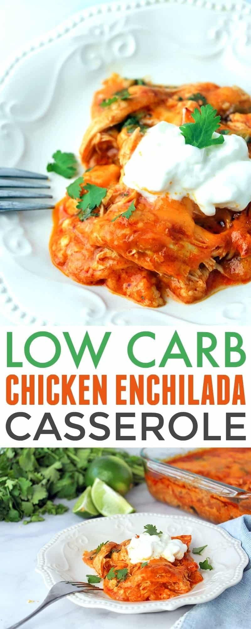 Low Carb Chicken Enchilada Casserole collage of two images