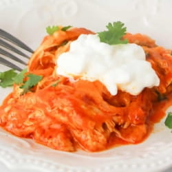 low carb chicken enchilada casserole on a white plate